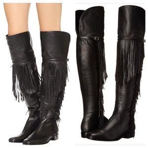 Sigerson Morrison Effie Black Fringe Boots Size 8